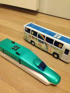 Bus and train toys
