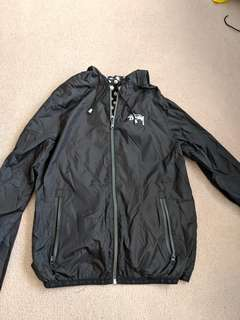 Stussy black reversible windbreaker spray jacket size 8