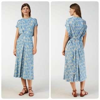 代購折扣北歐Arket 優雅藍印花綁帶垂墜感連身裙