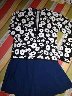 PAIR NAVY BLUE SKATER SKIRT AND FLORAL CHALICO