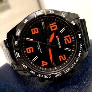 CURREN黑鋼型格鋼帶手錶 Original Brand New CURREN Black Stainless Steel Watch
