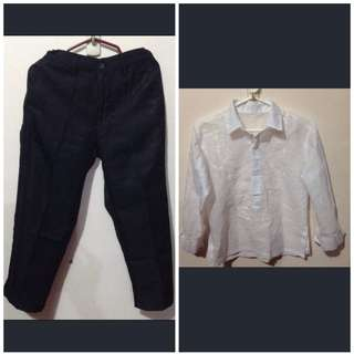 slacks& barong for aged 7-9y/o