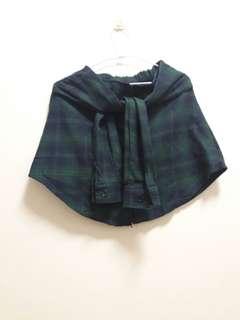 🚚 綠格文假綁袖短裙/披肩