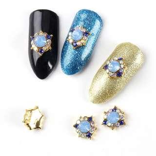 5Pcs/Lot Nail Art 3D Accessories Metal Round Glitter Rhinestones Mosaic Sky Blue Diamond Charms Nails Decorations TN2190