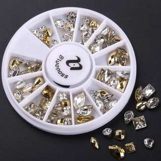 Blueness Water Drops Round Rhinestones for Nails Art Decorations Acrylic Mix Design Glitter Crystal Nail Studs Manicure Wheel