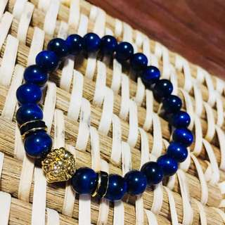 Gold Lion - Blue Beads