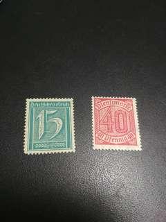 早期德國新票有膠x2