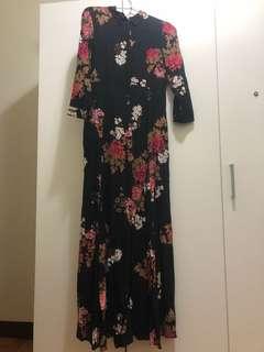 Zara woman精品超長洋裝 和服 浮飾繪 風格 可當罩衫
