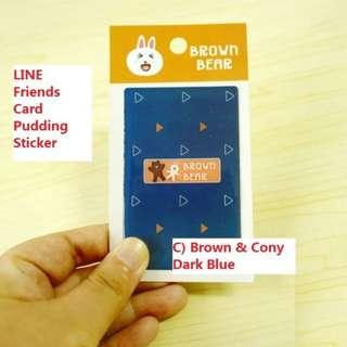 LINE Friends Card Pudding Sticker (rown & Cony - Dark Blue)