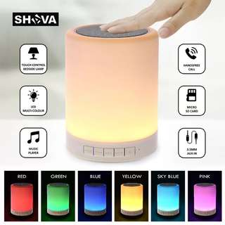 Night Light with Bluetooth Speaker, SHAVA Portable Wireless Bluetooth Speaker Touch Control Color LED Bedside Table Lamp