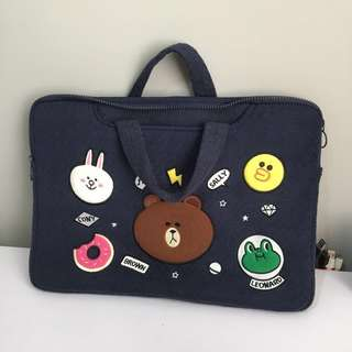"15.6"" Line Friends Laptop Sleeve with handle 15 Inch in Dark Blue"