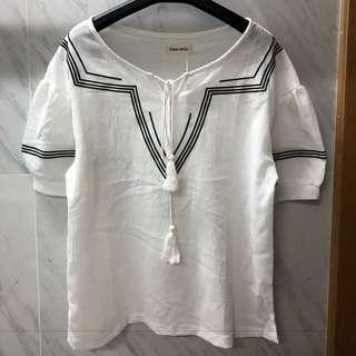民族風V領襯衫韓國氣質寬鬆上衣