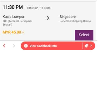 1 pax Bus ticket on 18 June 2018,11.30pm from Kuala Lumpur (TBS) to Singapore (Concorde Shopping Mall)
