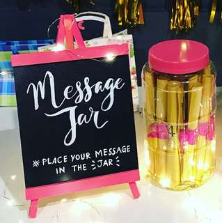 "Birthday ""message jar"" display board"