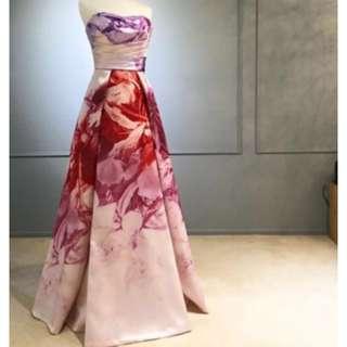 Monique Lhullier ML floral wedding evening gown