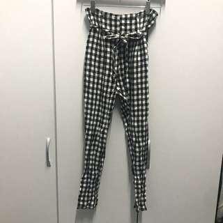 🚚 KOREA 格子控 棉麻綁帶鬆緊高腰寬褲 黑白格紋