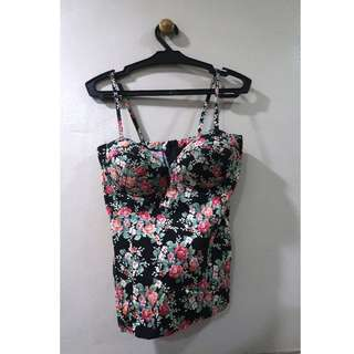 Black Red Floral Bustier Tank Top