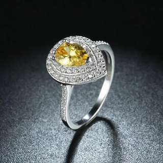 S925純銀天然黃水晶鑚介