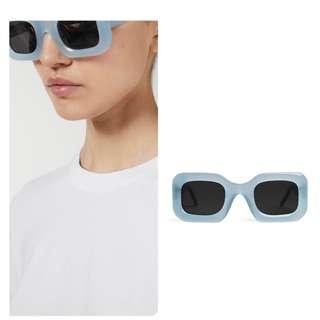 代購北歐Arket 選物 Ace & Tate Donna夏日清涼透明藍方框防紫外線太陽眼鏡