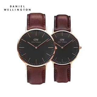 Daniel Wellington Watch DW Couple watch 40mm&36mm classic black rose gold st maves Brown leather strap