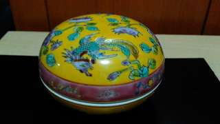 Vintage Peranakan Ceramic Powder Box.