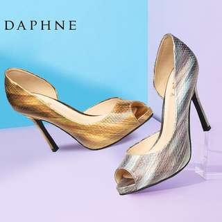🚚 Daphne/達芙妮春款中空魚嘴單鞋優雅細高跟性感開邊超高跟皮鞋清倉 挑戰最低價 任選3雙免運費