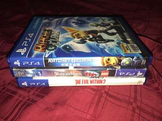 Ps4 Games rachet and clank,evil within2,lego movie
