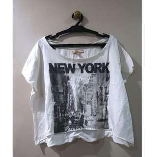 Zara White New York Crop Top
