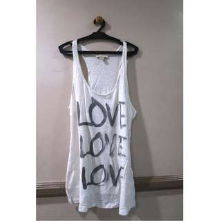 F21 White Love Tank Top