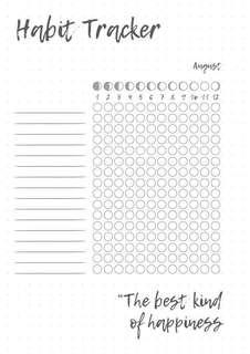 'Habit Tracker' planner/bullet journal insert