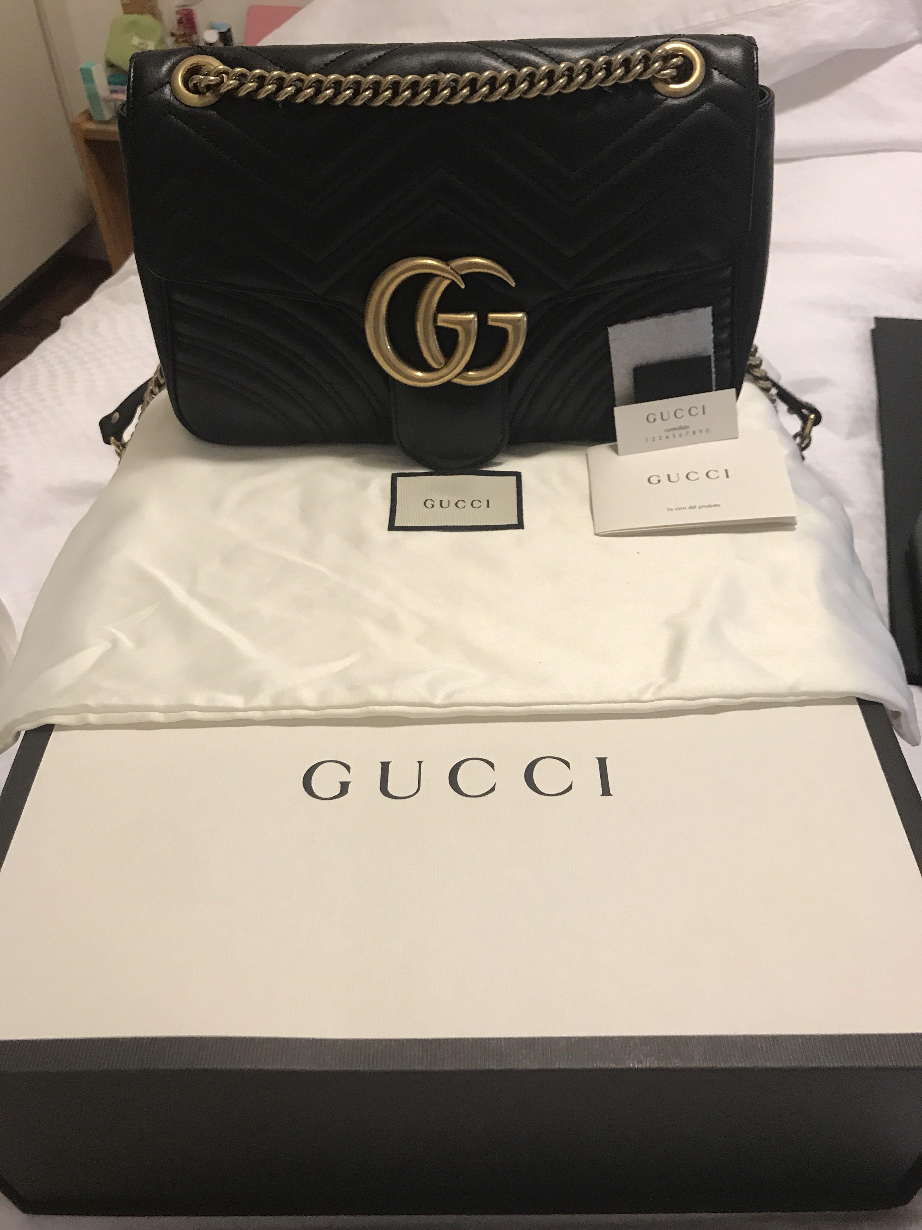 71033a9484c Authentic Gucci Marmont Medium Leather Shoulder Bag
