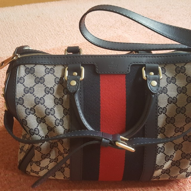 c2f1ef8493 Authentic Gucci Vintage Web Original GG Boston Bag