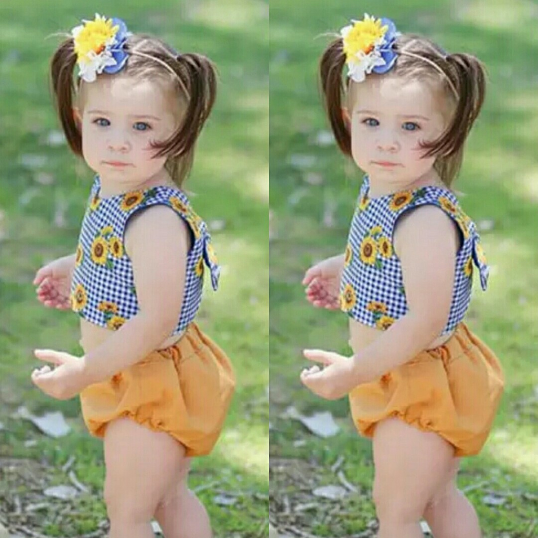 398df9aa4 🌟PM for price🌟 🍀Baby Girl Sunflower Backless Top+Shorts 2pcs Set ...