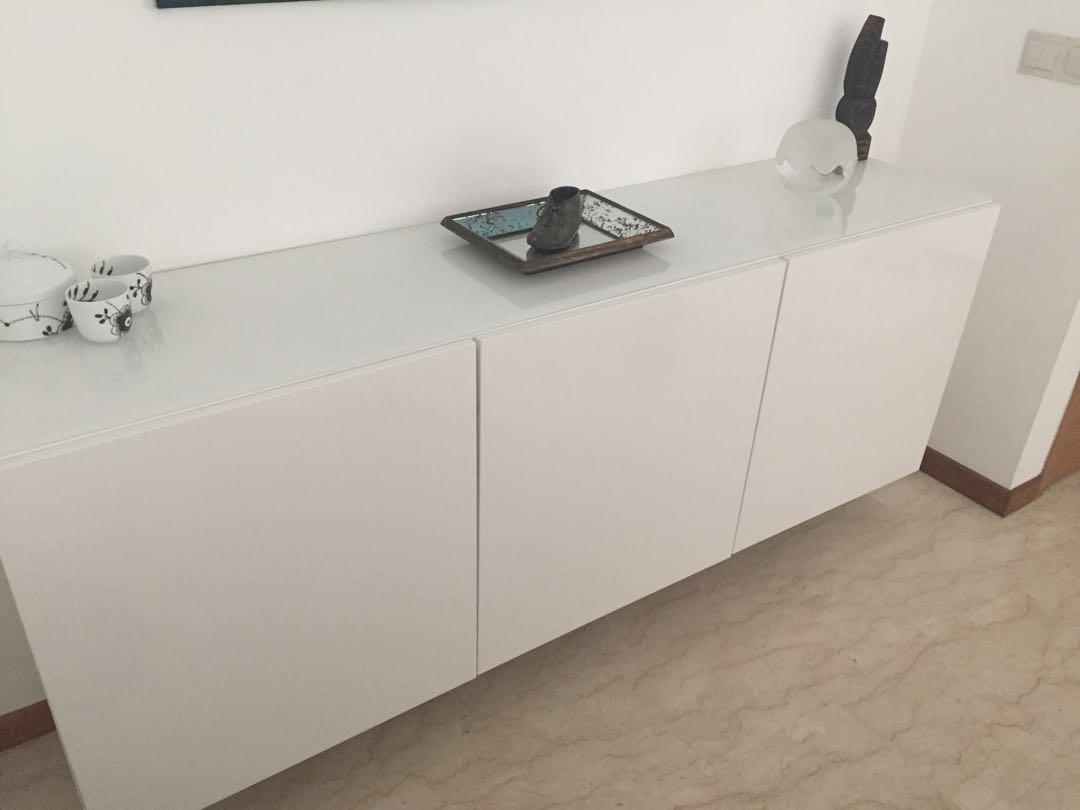 Besta cabinets white w glass top, Furniture, Shelves