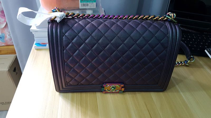 dede3ca100003d Chanel Boy Iridescent Purple Mermaid with 🌈 Hardware!, Luxury, Bags ...