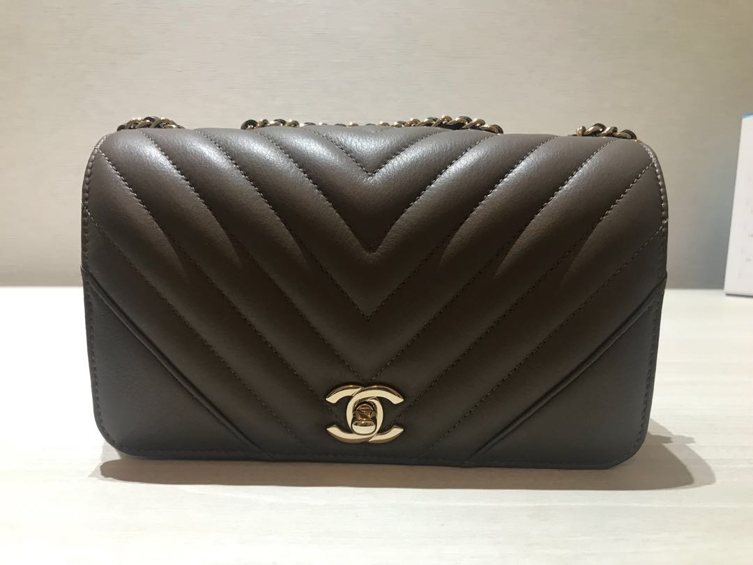 5359f5002858 Chanel Chevron Mini Flap Taupe, Luxury, Bags & Wallets, Handbags on ...