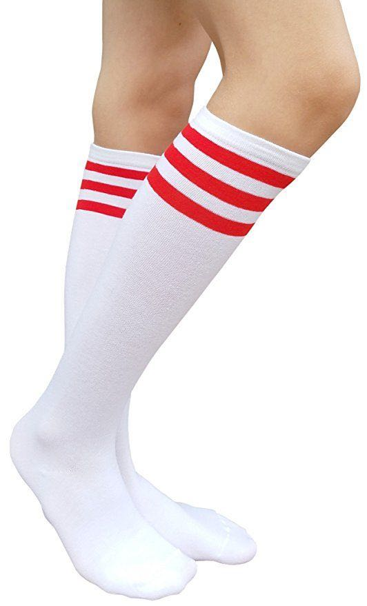 4d75125a6ea Children unisex knee high white socks with red stripes