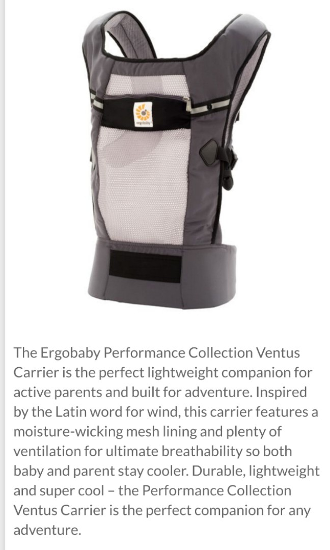 0f629eb7d57 Ergobaby Performance Baby Carrier – Ventus Graphite