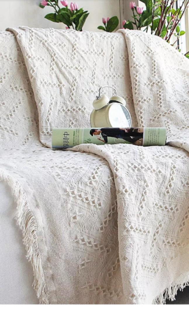 European-style Simple Cotton Sofa Slipcover In off grid and peach heart design