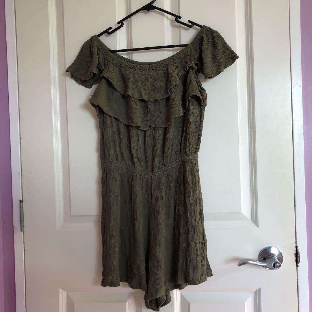 Glassons Khaki ruffled playsuit
