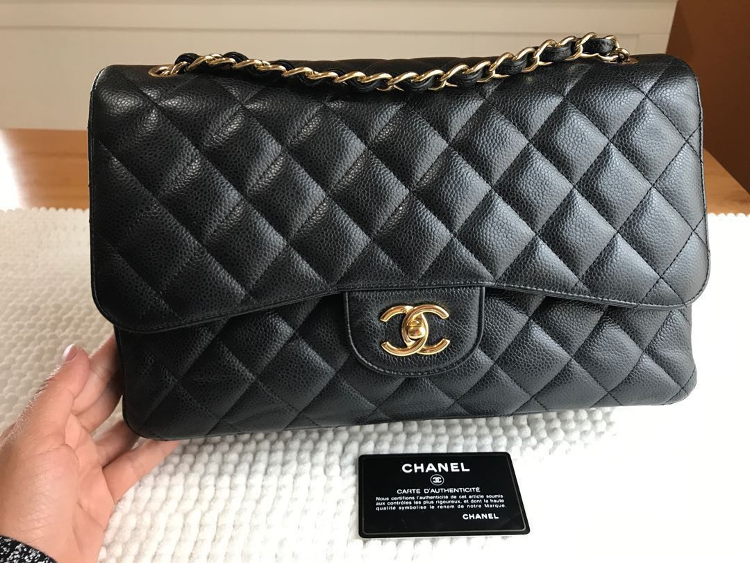 def961e0d296 Great Deal🔥Authentic Chanel Jumbo Black Caviar Double Flap Gold ...
