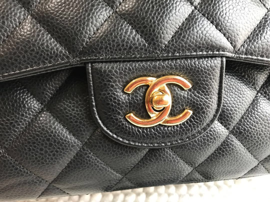 628b0adf4c27 Great Deal🔥Authentic Chanel Jumbo Black Caviar Double Flap Gold Hardware
