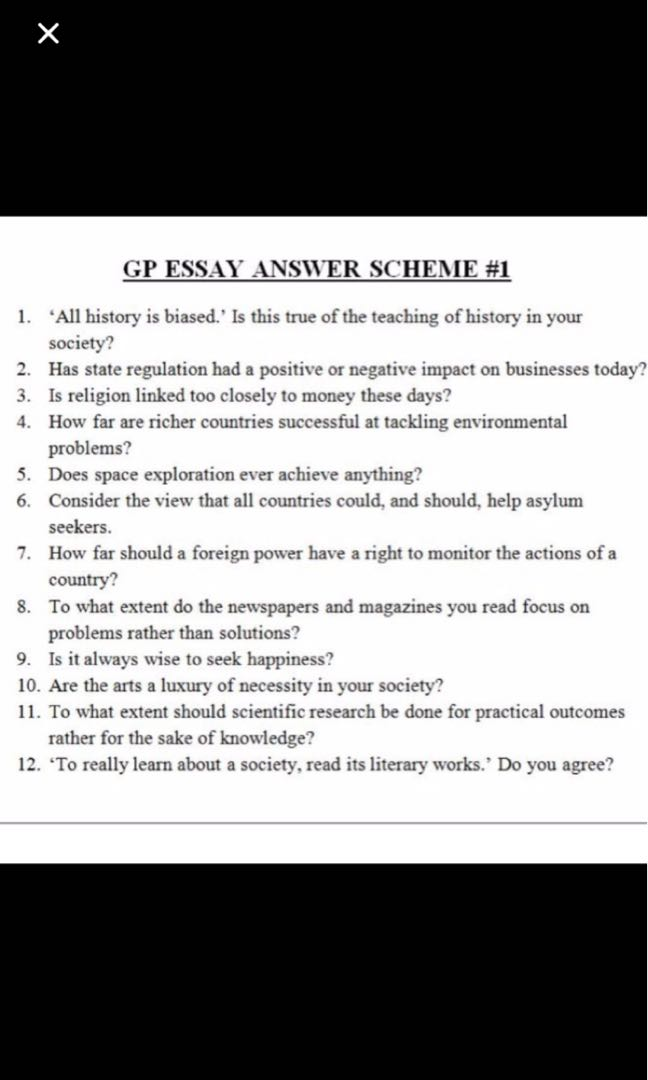 H General Paper Gp Essay Question Outlines Notes Books  Share This Listing