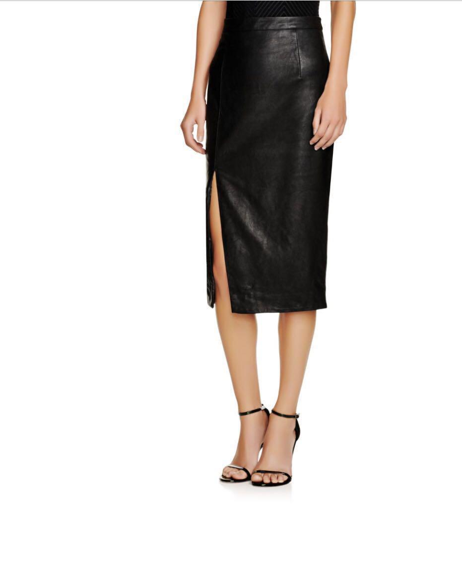 RRP$89 Bardot Faux Leather Midi Skirt Bodysuit