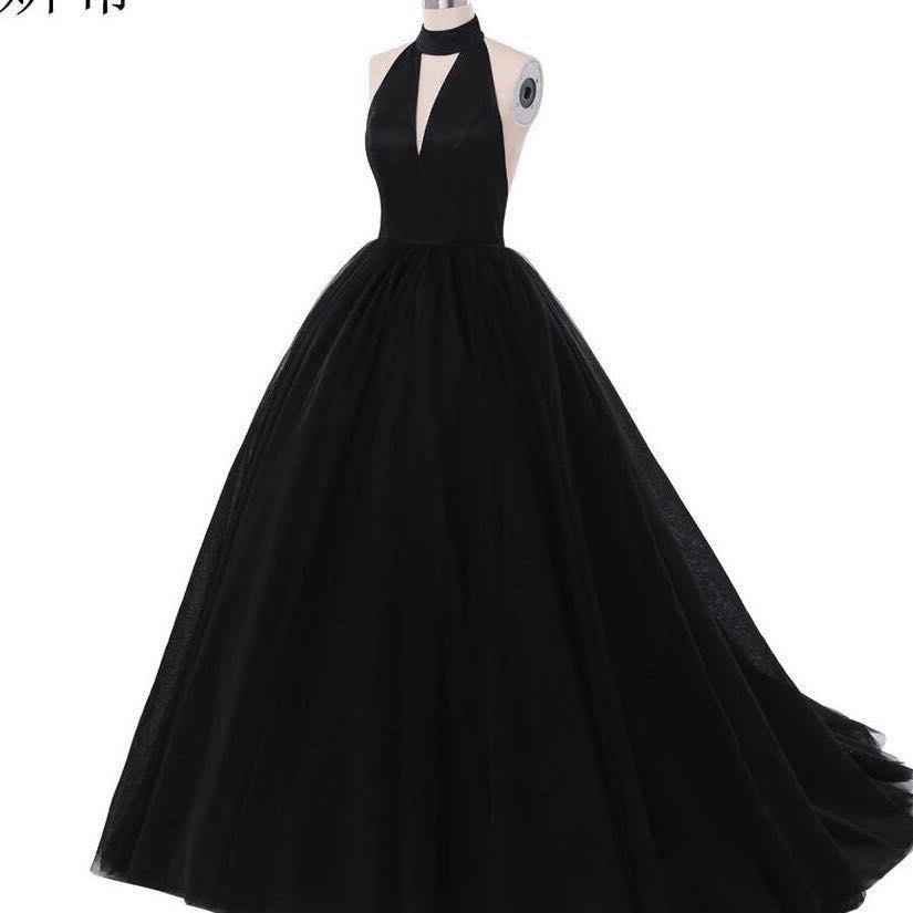 RUSH SALE Halter black prom dress ball gown debut gown, Women\'s ...