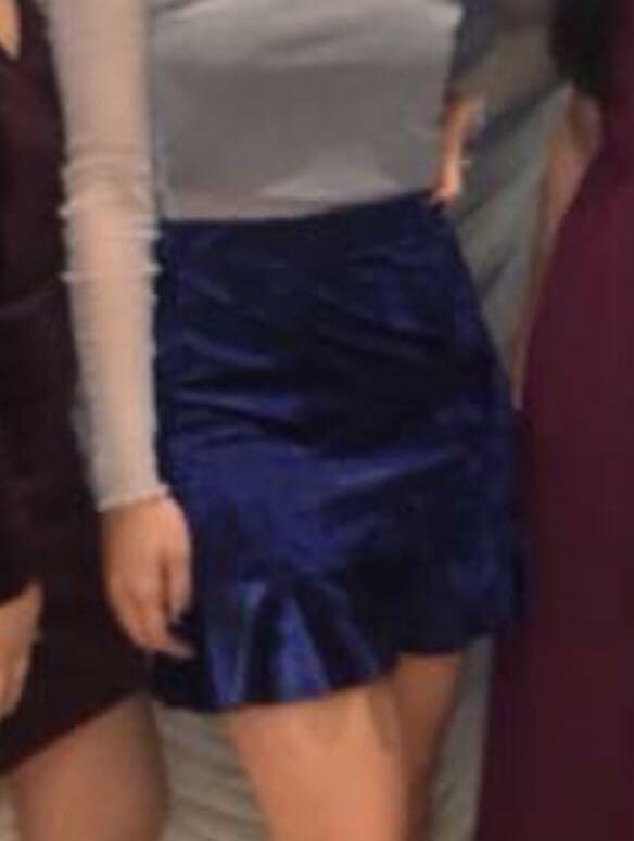 Velvet Navy Blue Skirt