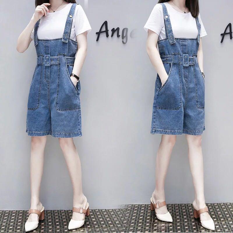 5104f883e35b7 XL~5XL) 2018 Summer Korean Jeans Jumper Shorts Siamese Wide Leg ...