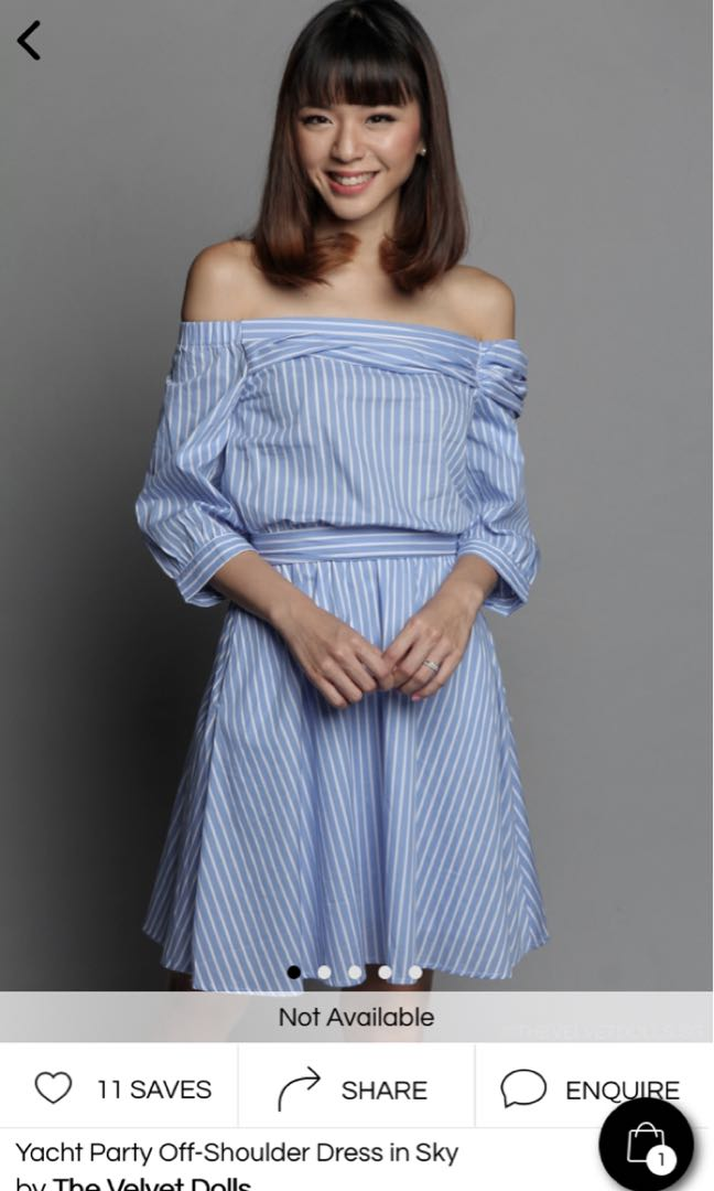 f62c3c71eb Yacht Party off shoulder stripe dress