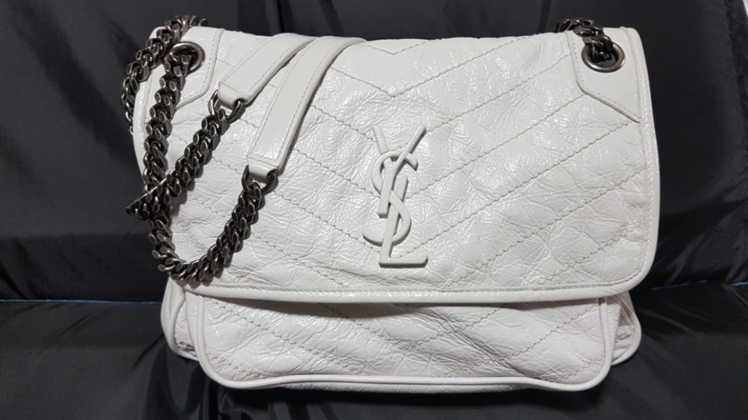 1e6f01a26fe YSL MEDIUM NIKI BAG IN CRINKLED AND QUILTED PEARL WHITE LEATHER ...