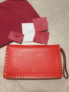 valentino garavani rockstud red leather clutch bag 紅色 窩釘